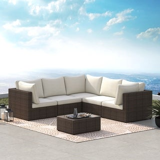 Link to Corvus Tierney Outdoor 6-piece Aluminum Wicker Sectional Sofa Set Similar Items in Outdoor Sofas