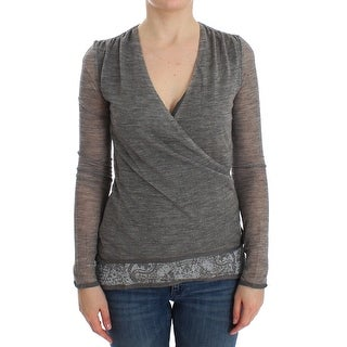 Ermanno Scervino Gray Wool Blend Stretch Long Sleeve Sweater