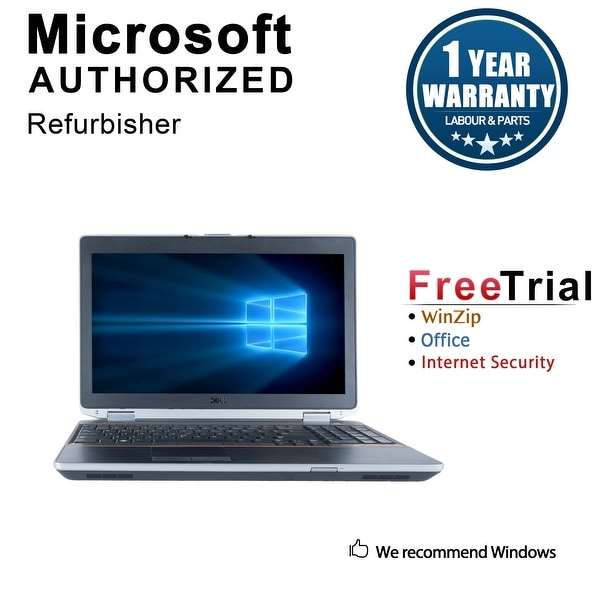 "Refurbished Dell Latitude E6520 15.6"" Laptop Intel Core i7 2620M 2.7G 4G DDR3 120G SSD DVDRW Win 10 Pro 1 Year Warranty - Black"