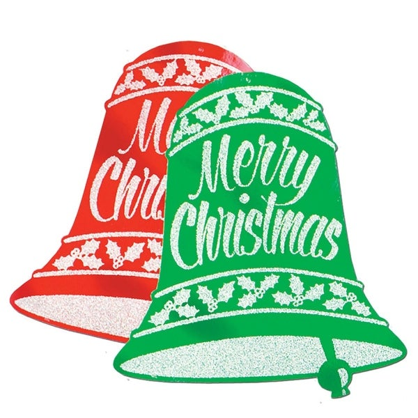 Club Pack of 12 Red and Green Glittered Christmas Bell Sign Decorations 18""