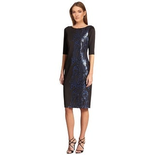 Teri Jon Sequined Scuba Short Sleeve Sheath Cocktail Dress - 6