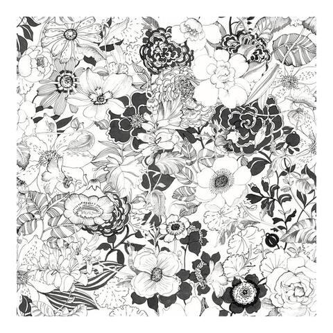 Adeline Black Flower Garden Wallpaper - 20.9 x 396 x 0.025