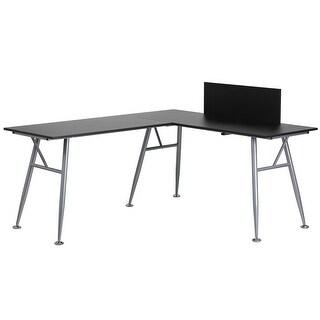 hamlet black laminate lshape homeoffice computer desk wsilver frame finish