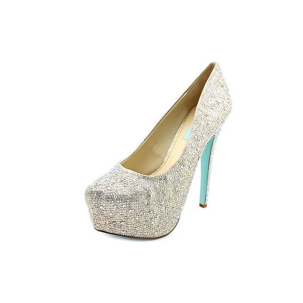 Betsey Johnson Wish Women Open Toe Canvas Silver Platform Heel