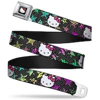 Hello Kitty W Red Bow Full Color Black Hello Kitty Face Pink Bow Stars & Seatbelt Belt