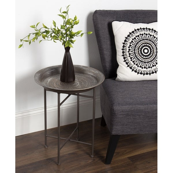 Kate and Laurel Mahdavi Hammered Metal Round Tray Table. Opens flyout.