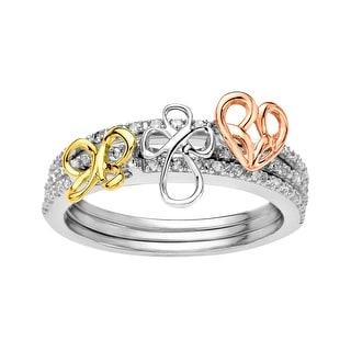 Jessica Simpson 1/10 ct Diamond Stackable Rings in Three-Tone 10K Gold