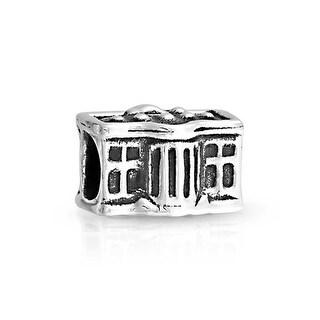Bling Jewelry American Flag white House Bead Charm .925 Sterling Silver