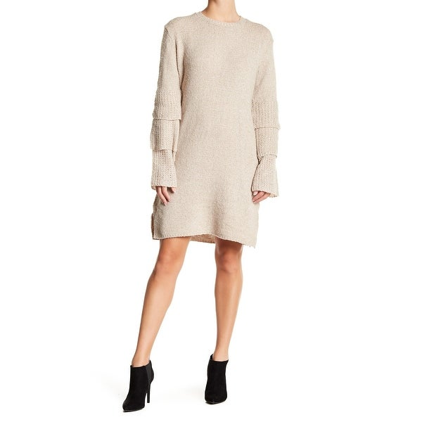 d0ca860809 Shop Solutions NEW Beige Womens Size Large L Tiered Sleeve Sweater Dress - Free  Shipping On Orders Over  45 - Overstock - 21892926