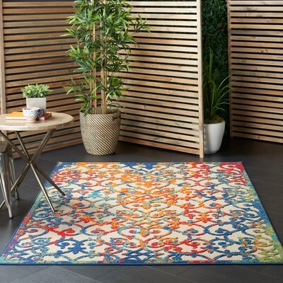 Vibrant and stylish multicolor outdoor area rug available online and up to 25% off when you shop with Overstock.com