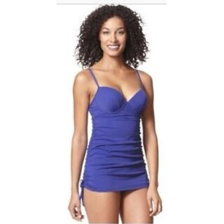 Spanx Assets 1714 One-piece Shirred Underwire Push Up Power Swim Suit Dress Navy