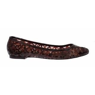Dolce & Gabbana Brown Jacquard PVC Ballet Loafer Flats Shoes - 40