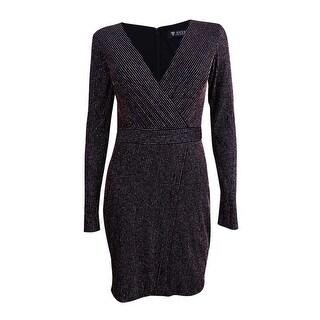 Guess Women's Metallic Striped Faux-Wrap Dress - Black