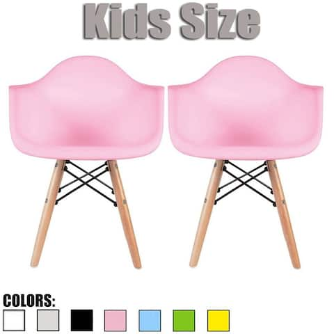 2xhome Set of 2 Modern Kids Size Molded Plastic Armchair with Arm Color Seat for Children's Room Natural Wood Eiffel Legs
