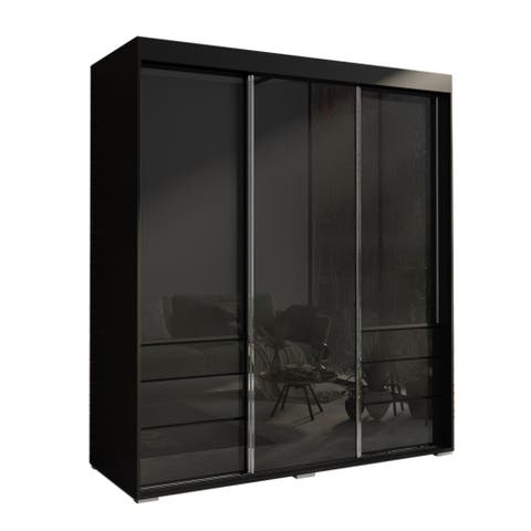 Monaco 3-door Modern 71-inch Glass Front Wardrobe