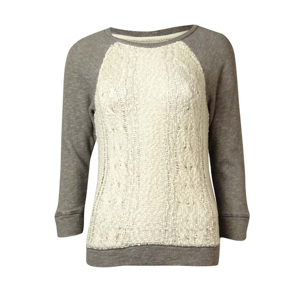 Lucky Lotus Women's Open Knit Panel Sweater