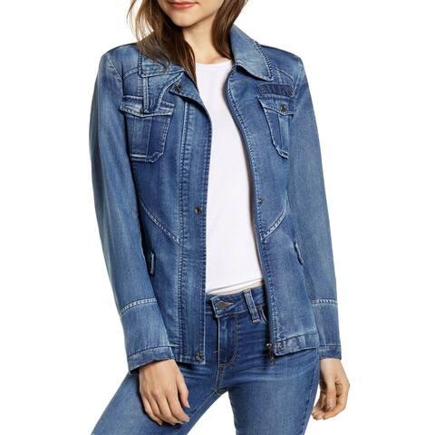Sam Edelman Womens Denim Field Jacket with Pockets Plus 2X Light Wash A371015