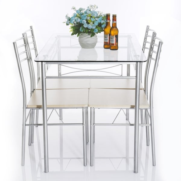 5 piece glass dining table set glass table and 4 chair