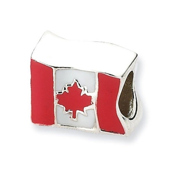 Sterling Silver Reflections Canada Flag Bead (4mm Diameter Hole)