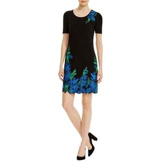 Elie Tahari Womens Royce Wear to Work Dress Embroidered Short Aleeve