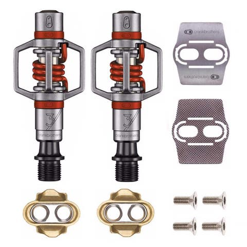 Crankbrothers Eggbeater 3 Bike Pedals (Red) with Cleats & Shoe Shields