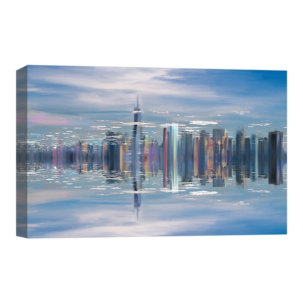"PTM Images 9-124858 PTM Canvas Collection 8"" x 10"" - ""Aqua City"" Giclee Cityscapes Art Print on Canvas"