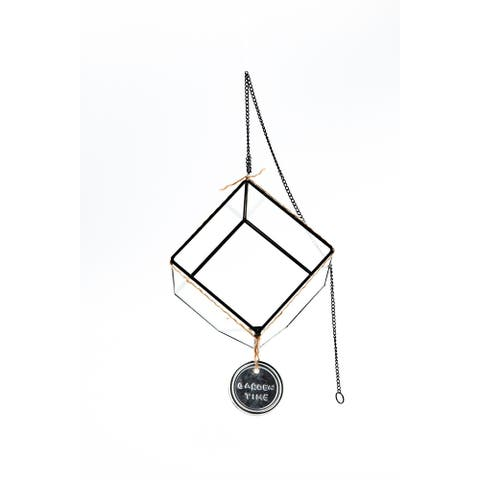 """6"""" Black and Clear """"Garden Time"""" Hanging Glass Terrarium"""