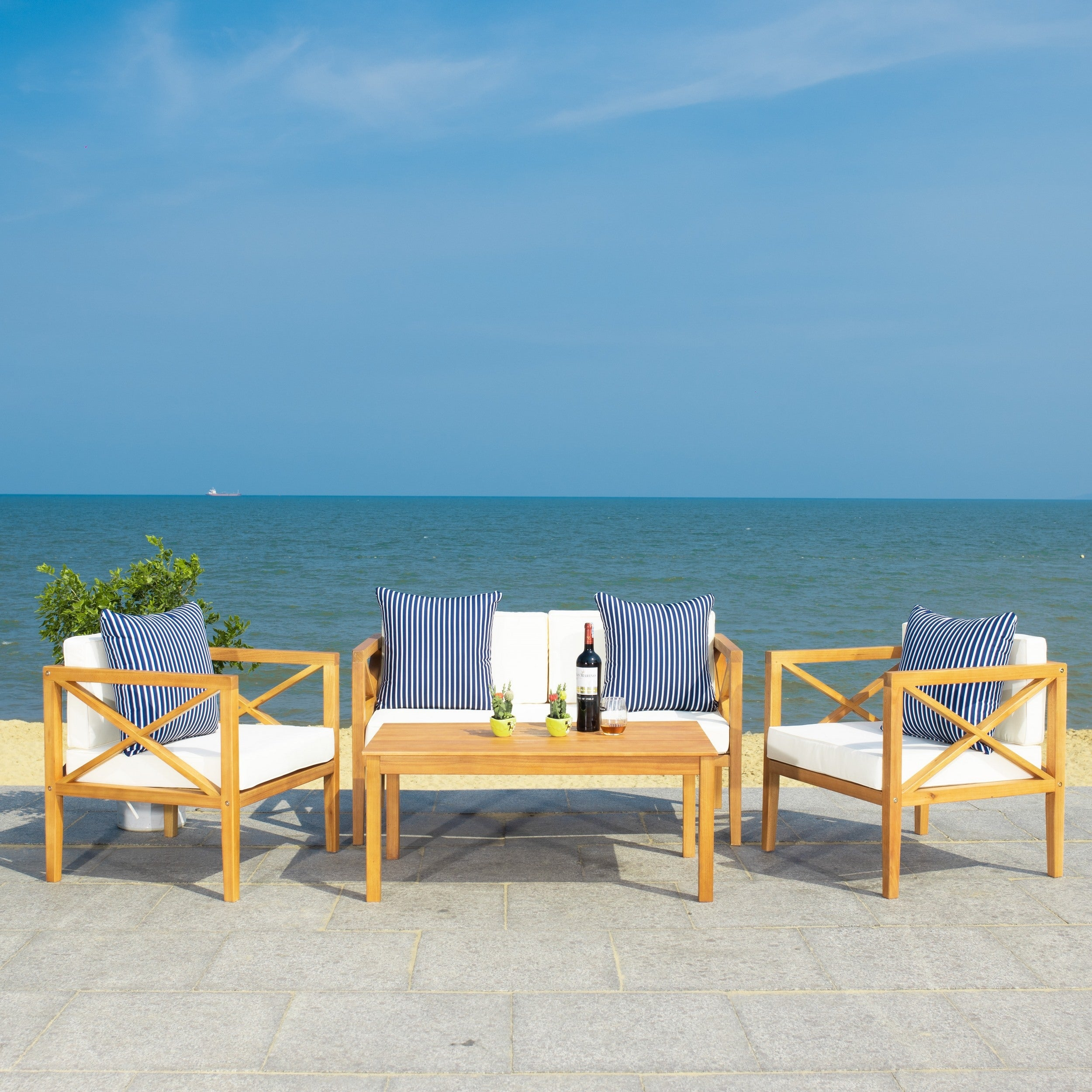 Safavieh Outdoor Living Montez 4 Piece Set with Accent | eBay on Safavieh Outdoor Living Montez 4 Piece Set id=62163