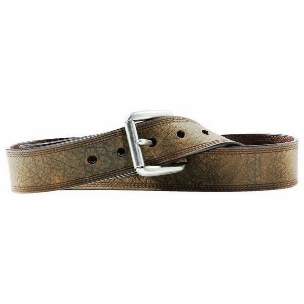 Ariat Western Belt Mens Leather Work Triple Stitch Aged Bark