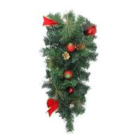 """24"""" Pre-Decorated Red and Gold Ball Ornaments and Bows Artificial Christmas Teardrop Swag - Unlit"""