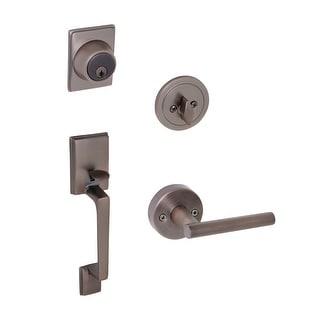 Design House 581918  Moderno Single Cylinder Keyed Entry Door Handle Set With Eastport Interior Lever - Brushed Bronze