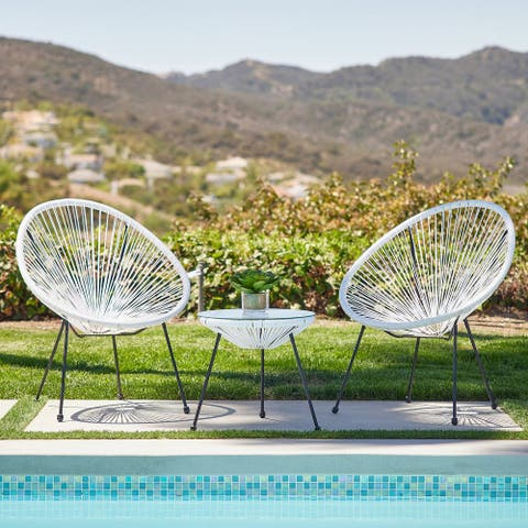 BELLEZE 3-Piece Outdoor Acapulco Set 2 Chairs & 1 Table, 3 Colors - standard
