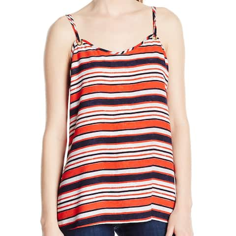 Kensie Red Womens Size Large L Striped Grommet Scoop-Neck Cami Top