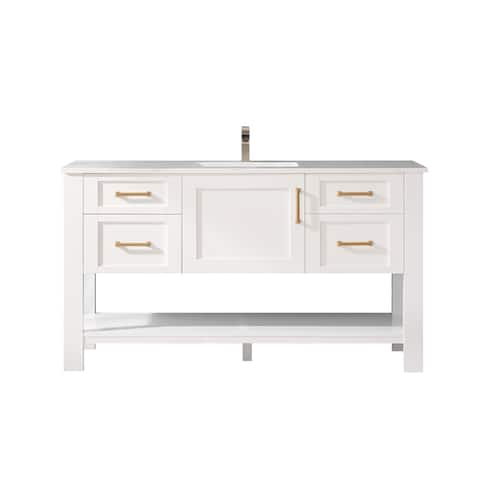 """Grayson 60"""" Single Vanity in White and Composite Carrara White Stone Countertop Without Mirror"""