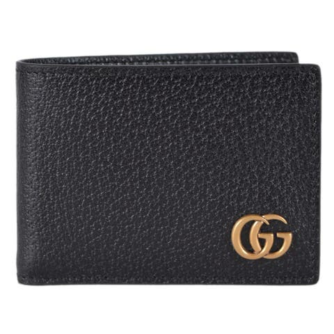 "Gucci Men's Black Leather GG Marmont Plaque Mini Bifold Wallet - 4.3"" x 3"""