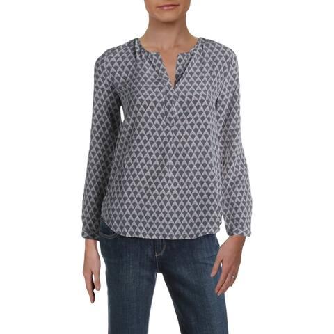 Joie Womens Blouse Silk Adjustable Sleeves - Steel - XS