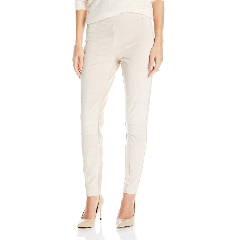 6fab946f0dbc41 Shop Calvin Klein NEW Beige Women's Size Large L Faux Suede Skinny Pants - Free  Shipping On Orders Over $45 - Overstock - 16121236