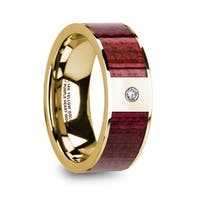 PHILE Purpleheart Inlaid 14k Yellow Gold Men's Wedding Band with Diamond & Polished Finish - 8mm