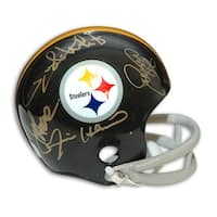 Autographed Steel Curtain Pittsburgh Steelers Throwback Mini Helmet