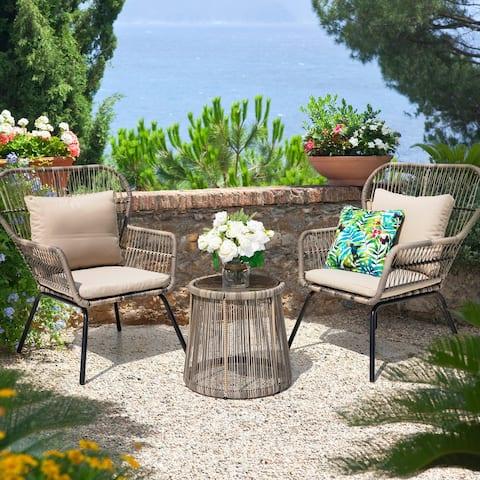 NUU GARDEN 3 Piece Conversation Bistro Set with Cushions