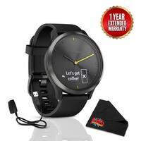 Garminvivomove HR Sport Watch (Large, Black w/ Black Silicone Band) Bundle