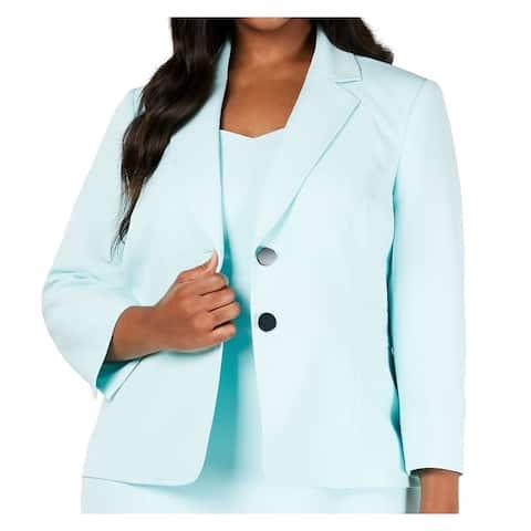 Kasper Women Jacket Tiffany Blue Size 16W Plus Two Button Notch Collar