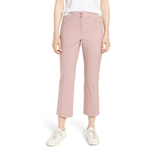 Nordstrom Signature Pink Womens Size 8 Crop Flare Dress Pants