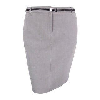 Calvin Klein Women's Petite Belted Pocketed Pencil Skirt - tin