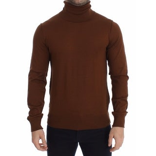 Dolce & Gabbana Dolce & Gabbana Brown Silk Cashmere Turtleneck Sweater Pullover