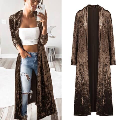 Long Sleeve Lengthened Velvet Cardigan Coat