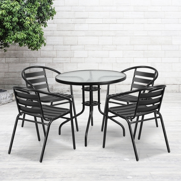 """31.5"""" Round Glass Metal Table with 4 Metal Aluminum Slat Stack Chairs. Opens flyout."""