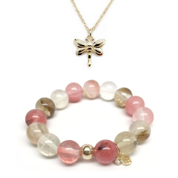 "Pink Cherry Quartz 7"" Bracelet & Dragonfly Gold Charm Necklace Set"