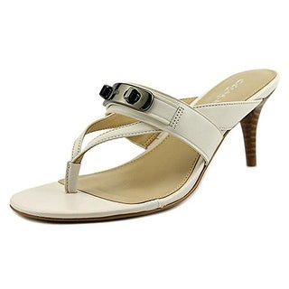 COACH Women's Olina Chalk Turnlock Thong Dress Sandals