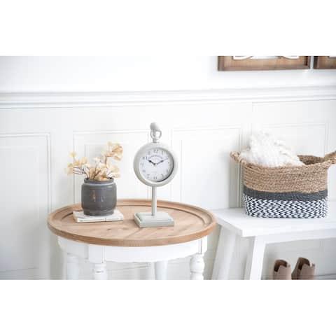 White Iron Farmhouse Clock 15 x 6 x 5 - 6 x 5 x 15